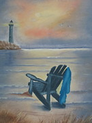 Lawn Chair Prints - One Is A Lonely Number Print by Kay Novy