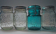 Mason Jars Posters - One is different Poster by Mary Bedy