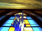 Horizontal Glass Art Posters - One Last Battle Union Soldier Stained Glass Window Digital Art Poster by Thomas Woolworth
