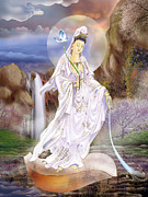 Guan Yin Prints - One Leaf Avalokitesvara Print by Lanjee Chee