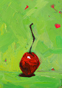 Cherry Art Painting Framed Prints - One Little Cherry Framed Print by Patricia Awapara