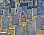 Headstones Digital Art Prints - One Lonely Flag Print by Victor Montgomery