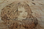 Girl Pyrography Posters - One Look Poster by JJ Oosthuizen