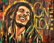 Smile Painting Prints - One Love Print by Robyn Chance