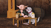 Cute Dogs Digital Art - One More Drink - I Promish by Liam Liberty