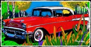 Chevy Pickup Mixed Media Prints - One  nice red 57 Print by Craig Nelson