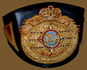 Black Jewelry Metal Prints - One of Ana Julatons World Championship Boxing Belts Metal Print by Jim Fitzpatrick