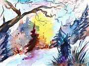 Snowy Trees Paintings - One Of These Mornings by Beverley Harper Tinsley