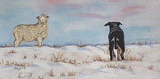 Kelpie Drawings Prints - One on One Print by Arlette Seib