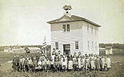 Rural Schools Photo Framed Prints - One Room Schoolhouse Framed Print by Underwood Archives