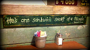 Diner Photos Prints - One Sandwich Short Print by Kathy  White