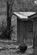 Outhouses Framed Prints - One Seater B/W Framed Print by Juls Adams