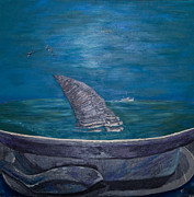 Sharks Paintings - One Shark Is Worth A Million Now by Bob Timmons