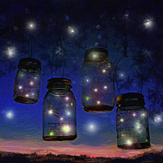 Mason Jar Prints - One Summer Night With Fireflies Print by Jane Schnetlage