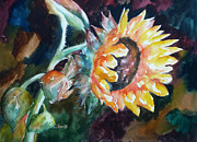 Alla Prima Posters - One Sunflower Poster by Carolyn Jarvis