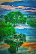 Amazing Sunset Digital Art Posters - One Tree Reflection Poster by Yury Malkov