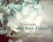 Quotation Posters - One True Friend Typography Print Poster by Lisa Russo