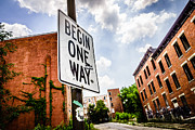 Dilapidated Houses Prints - One Way Sign at Glencoe-Auburn Place in Cincinnati Print by Paul Velgos