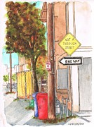 Canal Street Paintings - One Way sign in a street of Venice Canals - California  by Carlos G Groppa