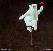 Polar Bears Framed Prints - one-wheel Willie... Framed Print by Will Bullas