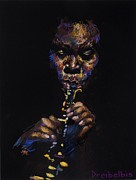 African-americans Pastels Metal Prints - One with the Music Metal Print by Ellen Dreibelbis