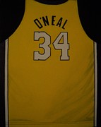 Los Angeles Lakers Paintings - ONeal Jersey by Catherine Boley