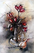 Rose Drawings Prints - Onion and rose hips Print by Mugur Popa
