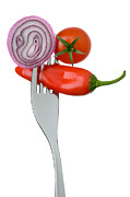 Fruit Shaped Prints - Onion Chilli And Tomato On A Fork Print by Lee Avison