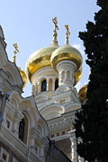 Onion Domes Photos - Onion Domes And Cruifixes - Church Yalta by Christiane Schulze
