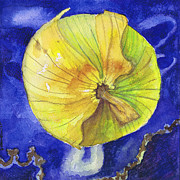 Onion Paintings - Onion on Blue Tile by Susan Herbst