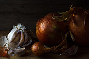 Evening Light Photos - Onions and garlic by Constance Fein Harding