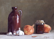 Vegetables Paintings - Onions and Sundried Tomatoes by Viktoria K Majestic