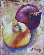 Vegetables Paintings - Onions I by Sheila Diemert