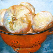 Timi Johnson Prints - Onions in a Colander  Print by Timi Johnson
