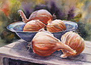 Healthy Eating Paintings - Onions by Mohamed Hirji