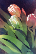 Kris Parins Prints - Only Three Tulips Print by Kris Parins