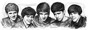 British Portraits Drawings Prints - Onr Direction art long drawing sketch poster Print by Kim Wang