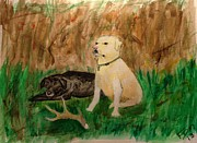 Black Lab Mixed Media - Onyx and Sarge by Frank Middleton