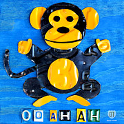 Animal Mixed Media Metal Prints - Oo Ah Ah the Monkey License Plate Art Metal Print by Design Turnpike