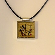Amulet Prints - OOAK Anubis Do No Evil Amulet Necklace Hand Painted Papyrus Print by Pet Serrano