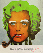 Magritte Framed Prints - Oompa Loompa Self Portrait With Surreal Pipe Framed Print by Filippo B