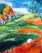 Golf Ball Painting Originals - Oops - Bad Lie by Betty M M   Wong