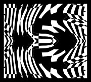 Op Art Digital Art Posters - Op Art Black White Abstract Gometric No.290. Poster by Drinka Mercep