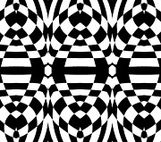 Op Art Digital Art Posters - Op Art Black White Geometric Abstract Print No.262. Poster by Drinka Mercep