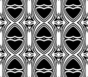 Op Art Digital Art Posters - Op Art Black White Geometric Pattern Art Print No.135 Poster by Drinka Mercep