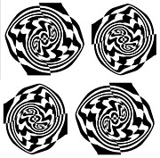 Op Art Digital Art Posters - Op Art Black White No.24 Poster by Drinka Mercep
