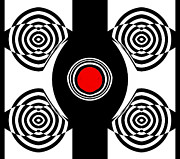 Op Art Digital Art Posters - Op Art Black White Red Abstract Geometric No.13 Poster by Drinka Mercep