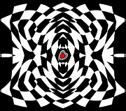 Op Art Digital Art Posters - Op Art Black White Red Geometric Abstract No.129. Poster by Drinka Mercep
