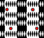 Op Art Digital Art Posters - Op Art Black White Red Geometric Pattern Print No.238. Poster by Drinka Mercep