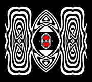 Op Art Digital Art Posters - Op Art Black White Red No.132. Poster by Drinka Mercep